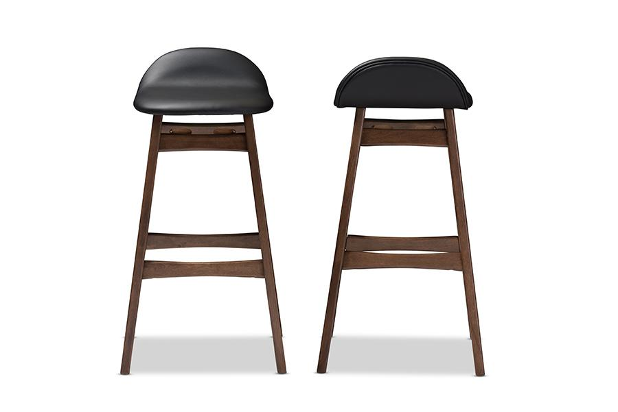 Pleasing Baxton Studio Bloom Mid Century Retro Modern Scandinavian Style Black Faux Leather Upholstered Walnut Wood Finishing 30 Inches Bar Stool Set Of 2 Pabps2019 Chair Design Images Pabps2019Com