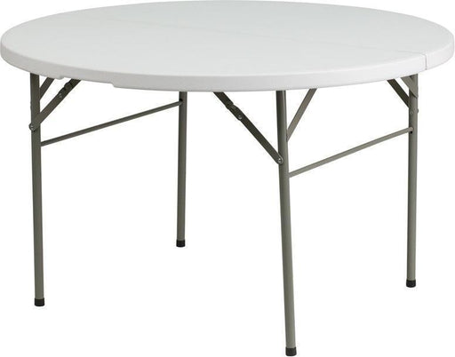 "500 PACK 48"" Round Bi-Fold Granite White Plastic Banquet and Event Folding Tables with Carrying Handle - DAD-122RZ-GG"