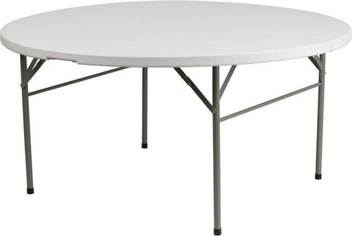 Flash Furniture DAD-154Z-GG 60'' Round Bi-Fold Granite White Plastic Folding Table