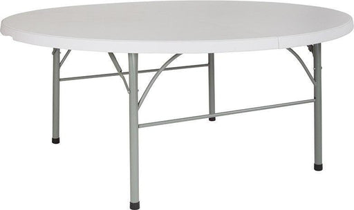 "500 PACK 72"" Round Bi-Fold Granite White Plastic Banquet and Event Folding Tables with Carrying Handle - DAD-183RZ-GG"