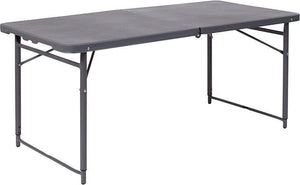 Flash Furniture DAD-LF-122Z-DG-GG 23.5''W x 48.25''L Height Adjustable Bi-Fold Dark Gray Plastic Folding Table with Carrying Handle