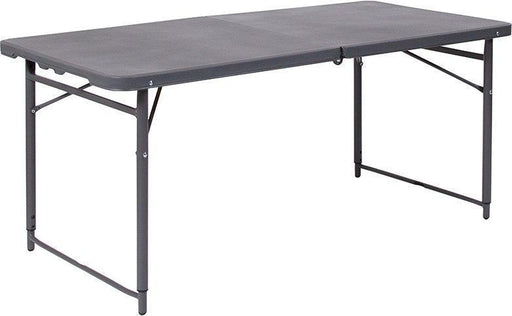 500 PACK 23.5''W x 48.25''L Height Adjustable Bi-Fold Dark Gray Plastic Folding Tables with Carrying Handle - DAD-LF-122Z-DG-GG