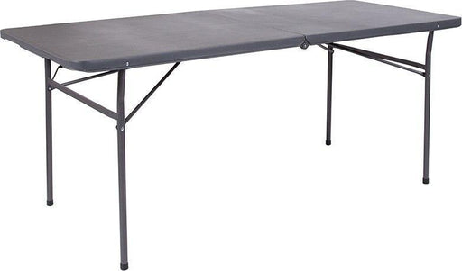 500 PACK 30''W x 72''L Bi-Fold Dark Gray Plastic Folding Tables with Carrying Handle - DAD-LF-183Z-DG-GG