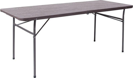 500 PACK 30''W x 72''L Bi-Fold Brown Wood Grain Plastic Folding Tables with Carrying Handle - DAD-LF-183Z-GG