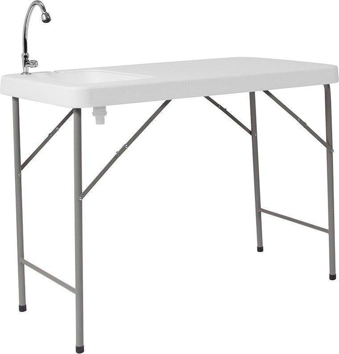 10 PACK 23''W x 45''L Granite White Plastic Folding Tables with Sink - DAD-PYZ-116-GG