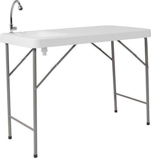 500 PACK 23''W x 45''L Granite White Plastic Folding Tables with Sink - DAD-PYZ-116-GG
