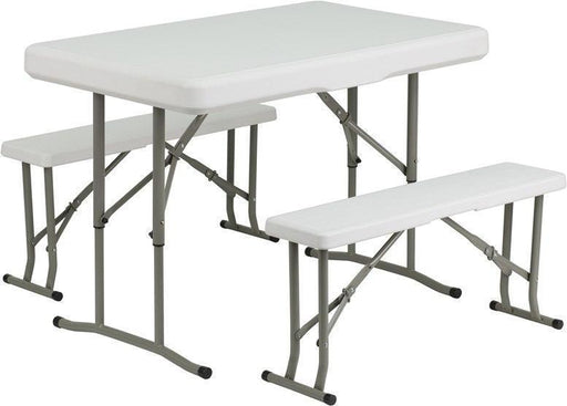 500 PACK Plastic Folding Tables and Bench Set - DAD-YCZ-103-GG