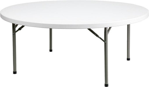 500 PACK 72'' Round Granite White Plastic Folding Tables - DAD-YCZ-180R-GW-GG