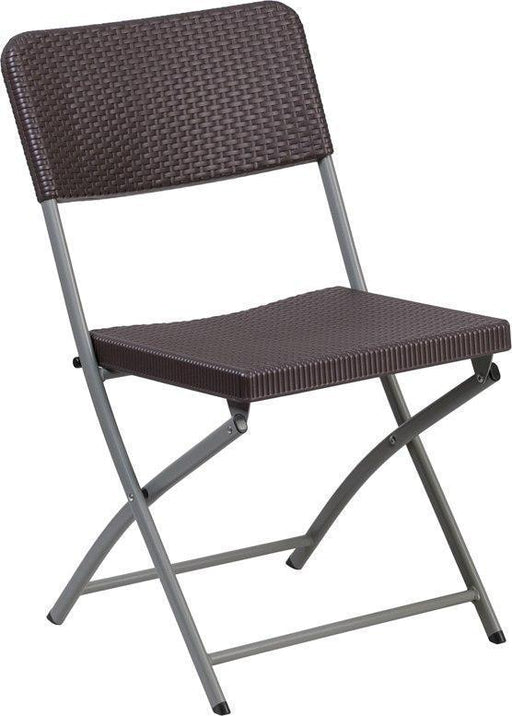 Flash Furniture DAD-YCZ-61-GG HERCULES Series Brown Rattan Plastic Folding Chair with Gray Frame