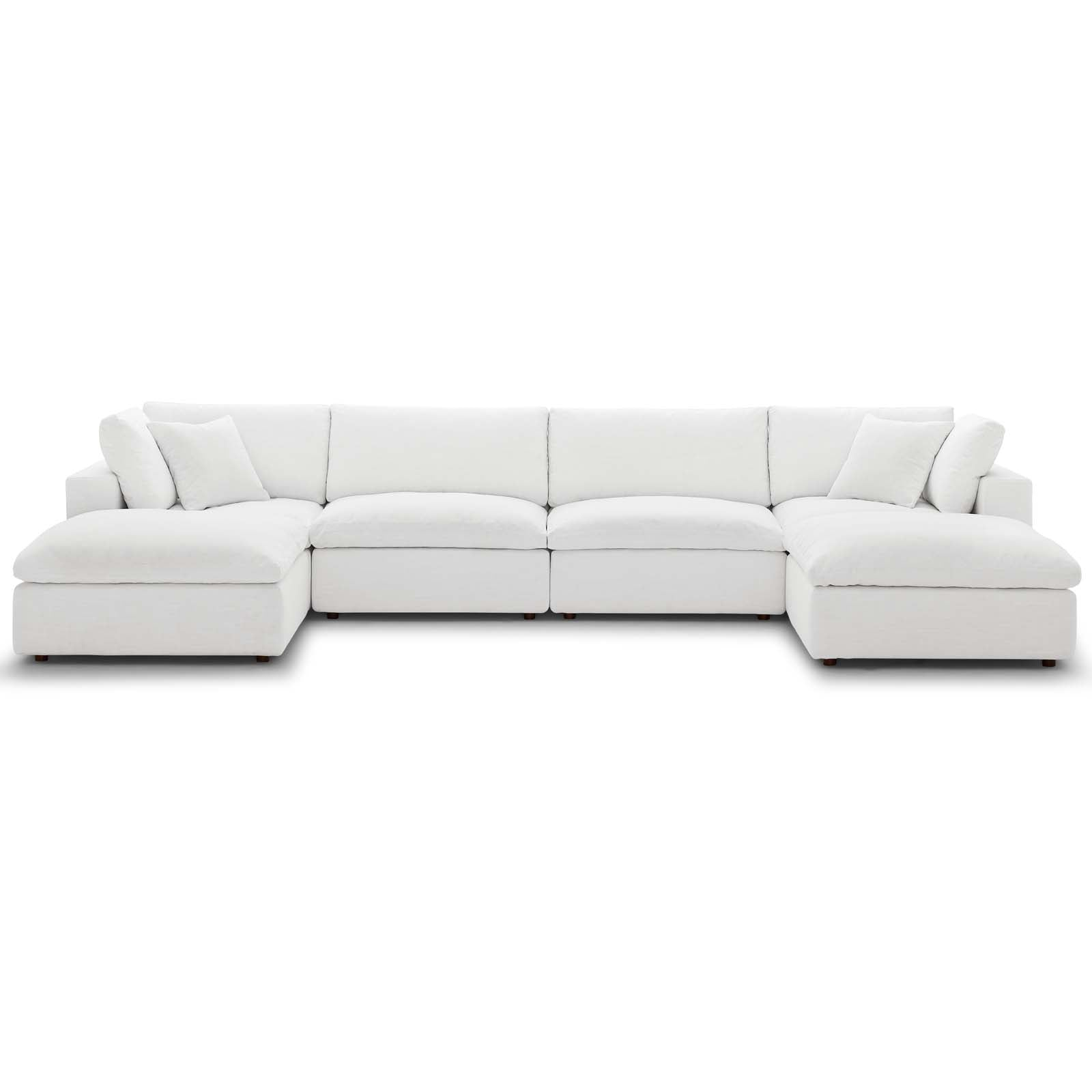 Modway EEI-3362-WHI Commix Down Filled Overstuffed 6 Piece Sectional Sofa  Set
