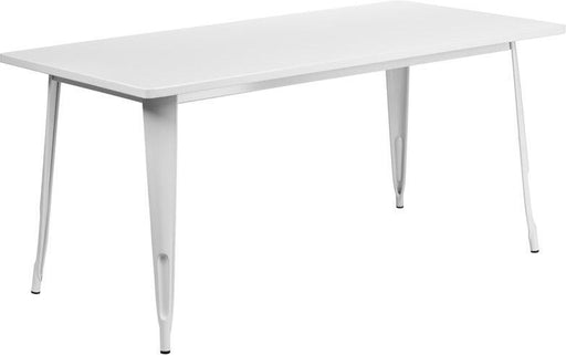 "(LOTS of 12) Flash Furniture ET-CT005-WH-GG 31.5"" x 63"" Rectangular White Metal Indoor-Outdoor Table"