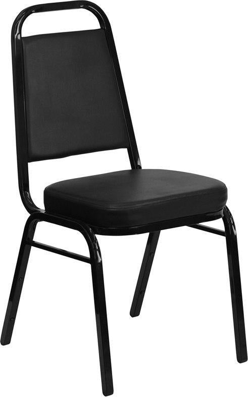 (LOTS of 12) Flash Furniture FD-BHF-1-GG HERCULES Series Trapezoidal Back Stacking Banquet Chair in Black Vinyl - Black Frame