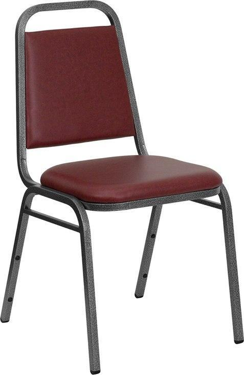 (LOTS of 12) Flash Furniture FD-BHF-2-BY-VYL-GG HERCULES Series Trapezoidal Back Stacking Banquet Chair in Burgundy Vinyl - Silver Vein Frame