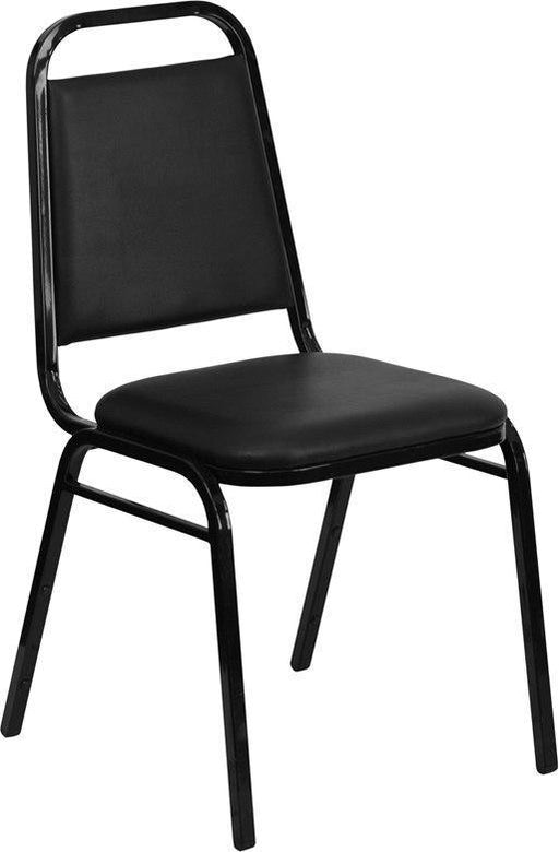 (LOTS of 12) Flash Furniture FD-BHF-2-GG HERCULES Series Trapezoidal Back Stacking Banquet Chair in Black Vinyl - Black Frame