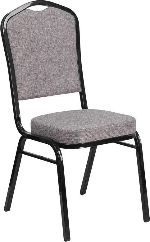 (LOTS of 12) Flash Furniture FD-C01-B-5-GG HERCULES Series Crown Back Stacking Banquet Chair in Gray Fabric - Black Frame
