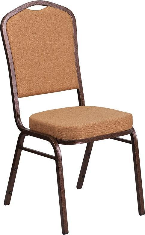 (LOTS of 12) Flash Furniture FD-C01-C-4-GG HERCULES Series Crown Back Stacking Banquet Chair in Light Brown Fabric - Copper Vein Frame