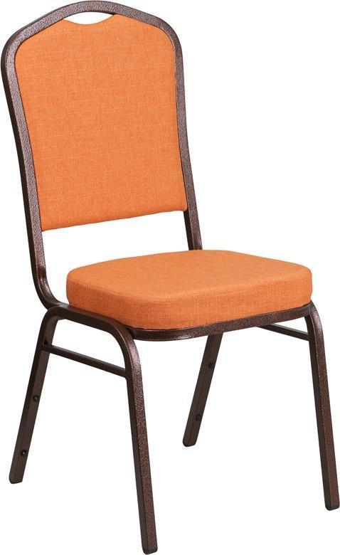 (LOTS of 12) Flash Furniture FD-C01-C-9-GG HERCULES Series Crown Back Stacking Banquet Chair in Orange Fabric - Copper Vein Frame