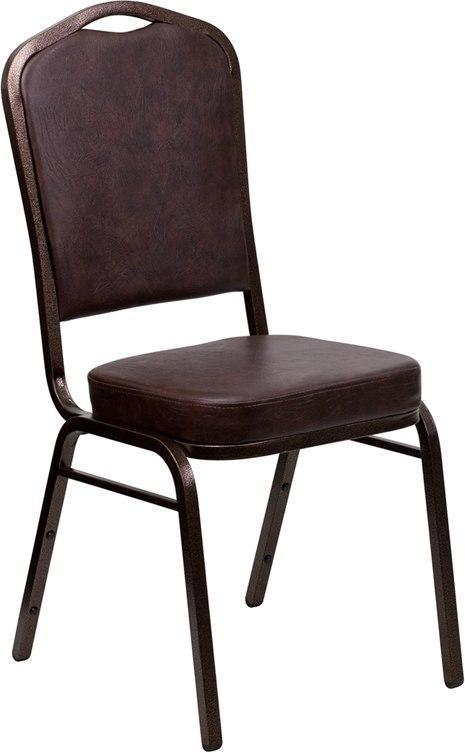 (LOTS of 12) Flash Furniture FD-C01-COPPER-BRN-VY-GG HERCULES Series Crown Back Stacking Banquet Chair in Brown Vinyl - Copper Vein Frame