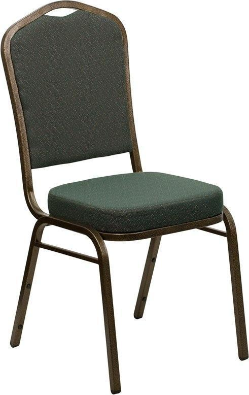 (LOTS of 12) Flash Furniture FD-C01-GOLDVEIN-0640-GG HERCULES Series Crown Back Stacking Banquet Chair in Green Patterned Fabric - Gold Vein Frame