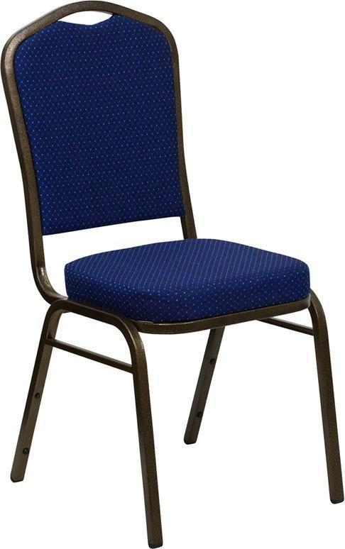 (LOTS of 12) Flash Furniture FD-C01-GOLDVEIN-208-GG HERCULES Series Crown Back Stacking Banquet Chair in Navy Blue Patterned Fabric - Gold Vein Frame