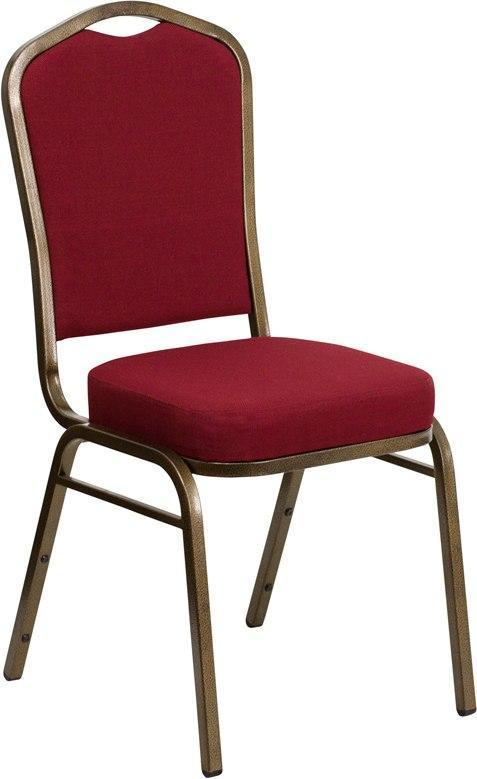 (LOTS of 12) Flash Furniture FD-C01-GOLDVEIN-3169-GG HERCULES Series Crown Back Stacking Banquet Chair in Burgundy Fabric - Gold Vein Frame