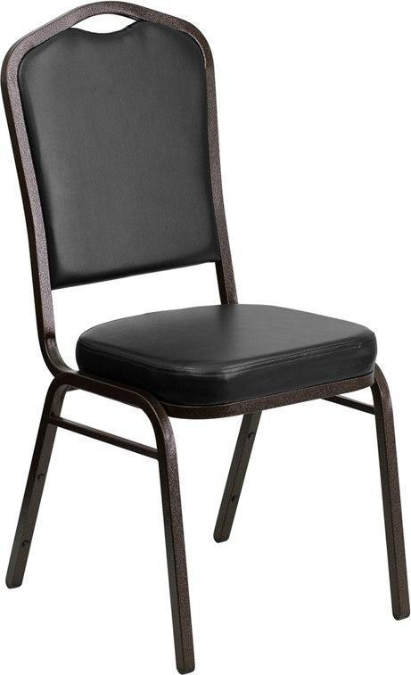(LOTS of 12) Flash Furniture FD-C01-GOLDVEIN-BK-VY-GG HERCULES Series Crown Back Stacking Banquet Chair in Black Vinyl - Gold Vein Frame
