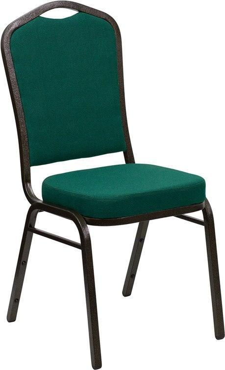 (LOTS of 12) Flash Furniture FD-C01-GOLDVEIN-GN-GG HERCULES Series Crown Back Stacking Banquet Chair in Green Fabric - Gold Vein Frame