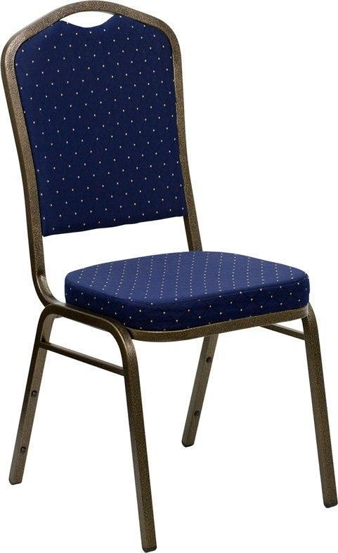 (LOTS of 12) Flash Furniture FD-C01-GOLDVEIN-S0810-GG HERCULES Series Crown Back Stacking Banquet Chair in Navy Blue Dot Patterned Fabric - Gold Vein Frame