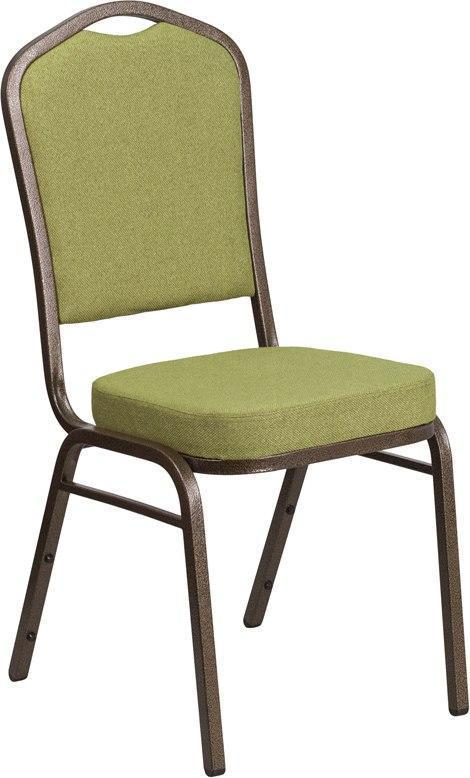 (LOTS of 12) Flash Furniture FD-C01-GV-8-GG HERCULES Series Crown Back Stacking Banquet Chair in Moss Fabric - Gold Vein Frame