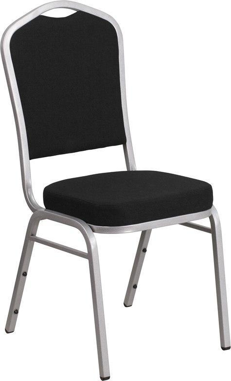 (LOTS of 12) Flash Furniture FD-C01-S-11-GG HERCULES Series Crown Back Stacking Banquet Chair in Black Fabric - Silver Frame