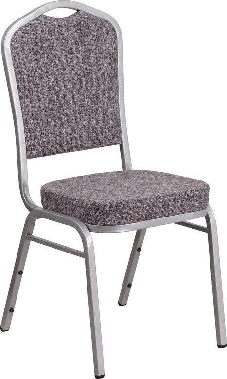 (LOTS of 12) Flash Furniture FD-C01-S-12-GG HERCULES Series Crown Back Stacking Banquet Chair in Herringbone Fabric - Silver Frame
