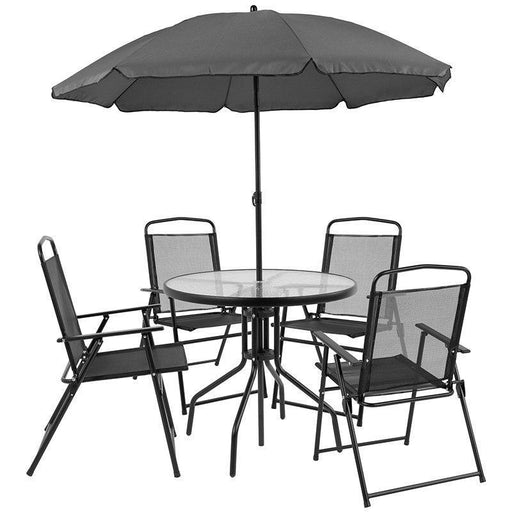 (LOTS of 16) Flash Furniture GM-202012-BK-GG Nantucket 6 Piece Black Patio Garden Set with Table, Umbrella and 4 Folding Chairs