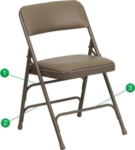 Flash Furniture HA-MC309AV-BGE-GG HERCULES Series Curved Triple Braced & Double-Hinged Beige Vinyl Fabric Metal Folding Chair