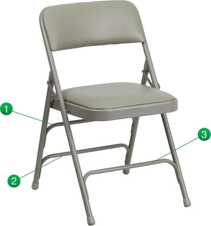 Flash Furniture HA-MC309AV-GY-GG HERCULES Series Curved Triple Braced & Double-Hinged Gray Vinyl Fabric Metal Folding Chair