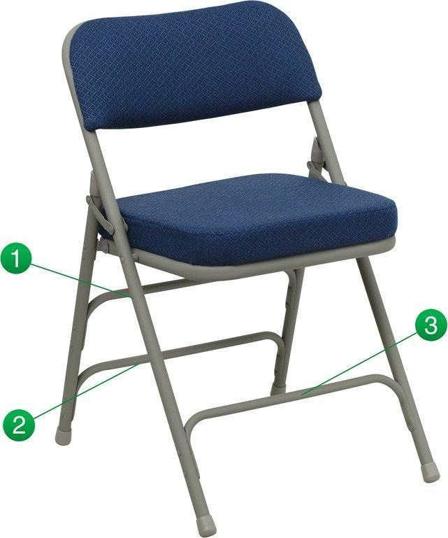 Flash Furniture HA-MC320AF-NVY-GG HERCULES Series Premium Curved Triple Braced & Double-Hinged Navy Fabric Metal Folding Chair