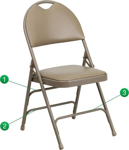 Flash Furniture HA-MC705AV-3-BGE-GG HERCULES Series Ultra-Premium Triple Braced Beige Vinyl Metal Folding Chair with Easy-Carry Handle