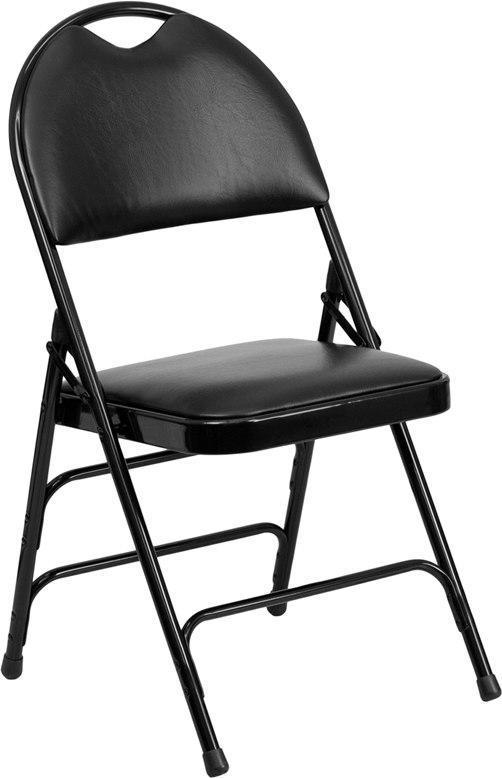 Flash Furniture HA-MC705AV-3-BK-GG HERCULES Series Ultra-Premium Triple Braced Black Vinyl Metal Folding Chair with Easy-Carry Handle