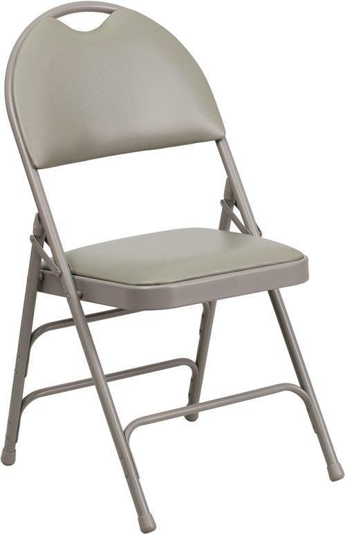 Flash Furniture HA-MC705AV-3-GY-GG HERCULES Series Ultra-Premium Triple Braced Gray Vinyl Metal Folding Chair with Easy-Carry Handle