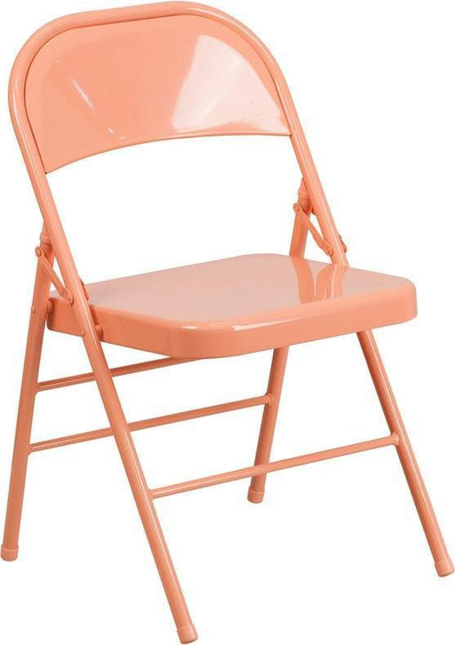 Flash Furniture HF3-CORAL-GG HERCULES COLORBURST Series Sedona Coral Triple Braced & Double-Hinged Metal Folding Chair