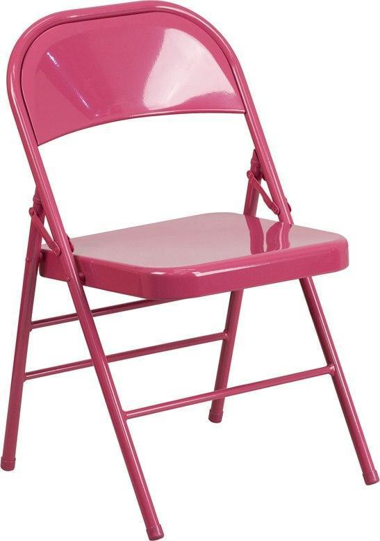 Flash Furniture HF3-FUCHSIA-GG HERCULES COLORBURST Series Shockingly Fuchsia Triple Braced & Double-Hinged Metal Folding Chair
