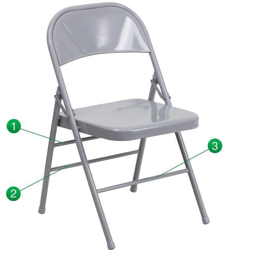 Flash Furniture HF3-MC-309AS-GY-GG HERCULES Series Triple Braced & Double-Hinged Gray Metal Folding Chair