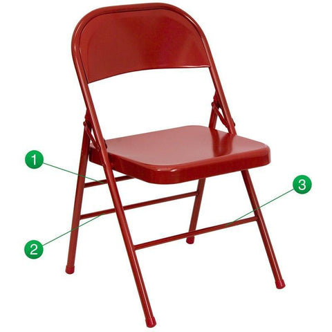 Flash Furniture HF3-MC-309AS-RED-GG HERCULES Series Triple Braced & Double-Hinged Red Metal Folding Chair