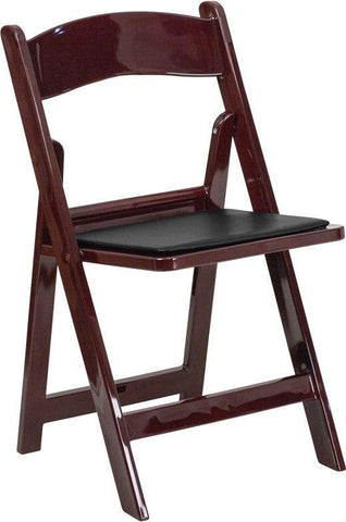 Flash Furniture LE-L-1-MAH-GG HERCULES Series 1000 lb. Capacity Red Mahogany Resin Folding Chair with Black Vinyl Padded Seat