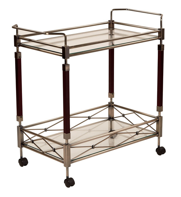 OSP Designs Melrose Serving Cart in Antique Brush Metal & Walnut Finish Wood