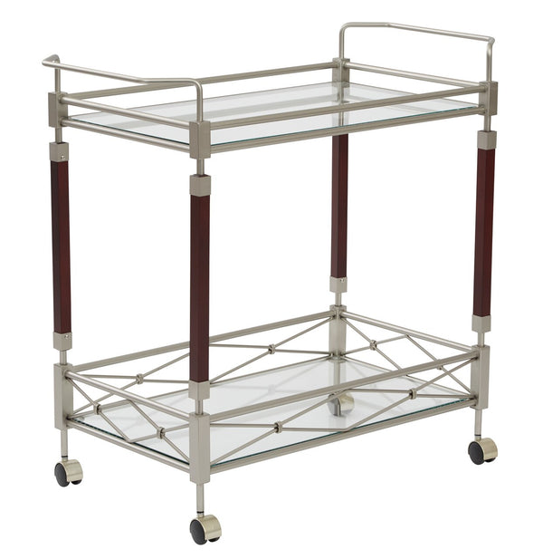 OSP Designs Melrose Serving Cart in Nickel Brush Metal & Walnut Finish Wood