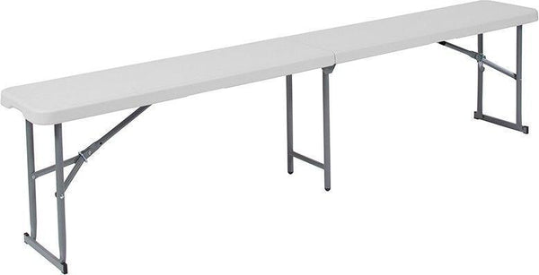 10 PACK 10.25''W x 71''L Bi-Fold Granite White Plastic Bench with Carrying Handle - RB-1172FH-GG