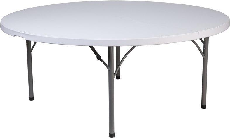 Flash Furniture RB-183R-GG 71'' Round Granite White Plastic Folding Table