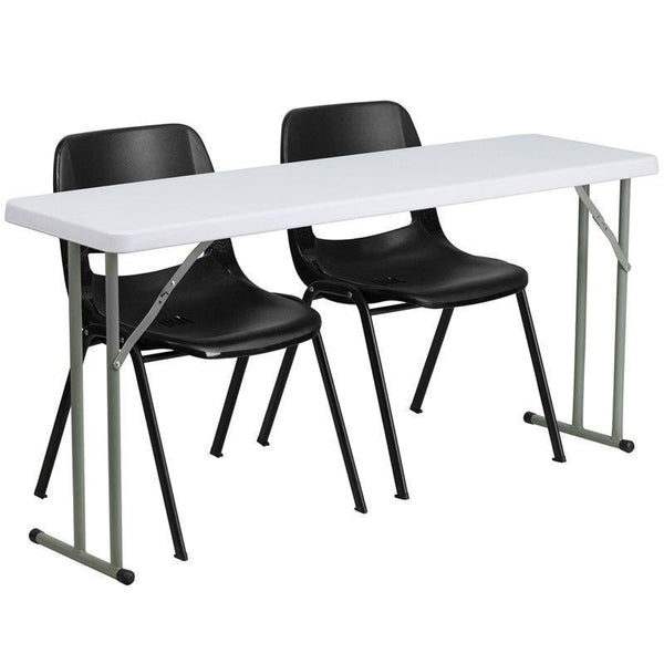 10 PACK 18'' x 60'' Plastic Folding Training Tables Set with 2 Black Plastic Stack Chairs - RB-1860-2-GG