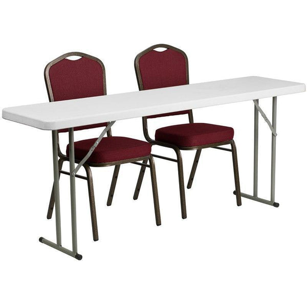 10 PACK 18'' x 72'' Plastic Folding Training Tables Set with 2 Crown Back Stack Chairs - RB-1872-1-GG