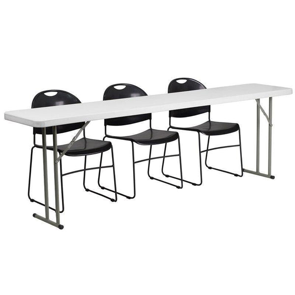 10 PACK 18'' x 96'' Plastic Folding Training Tables Set with 3 Black Plastic Stack Chairs - RB-1896-1-GG